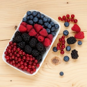 strawberries, blueberries, raspberries, and blackberries