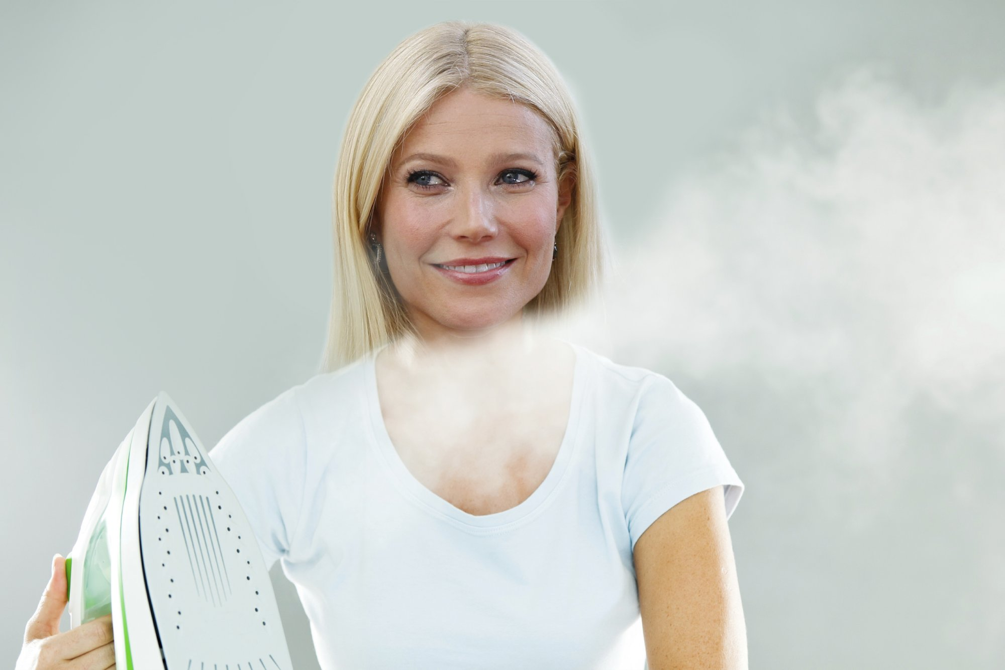 Gwyneth Paltrow demonstrating the benefits of facial steaming